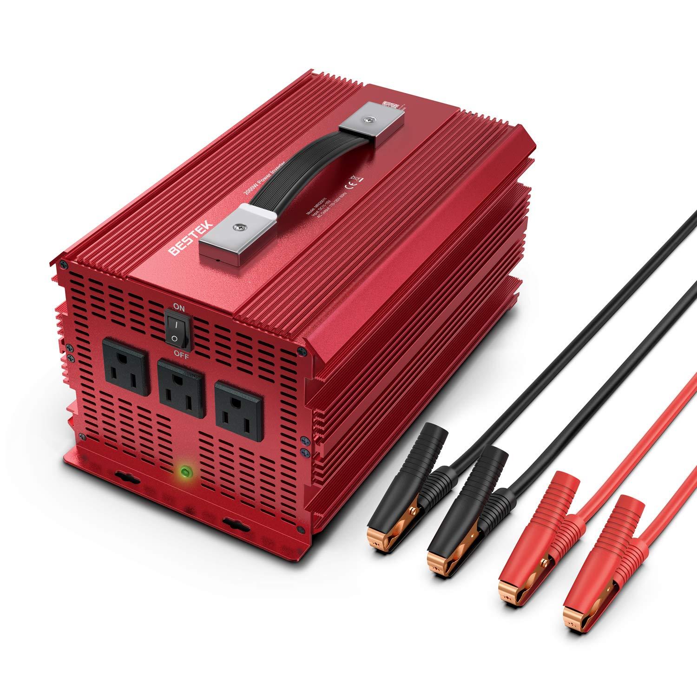BESTEK 2000W Power Inverter 3 AC Outlets DC 12V to 110V AC Car Converter Aluminium Housing ETL Listed by BESTEK (Image #1)