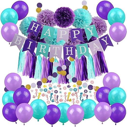 Juego de globos de cumpleaños para fiesta de sirena, 57 ...