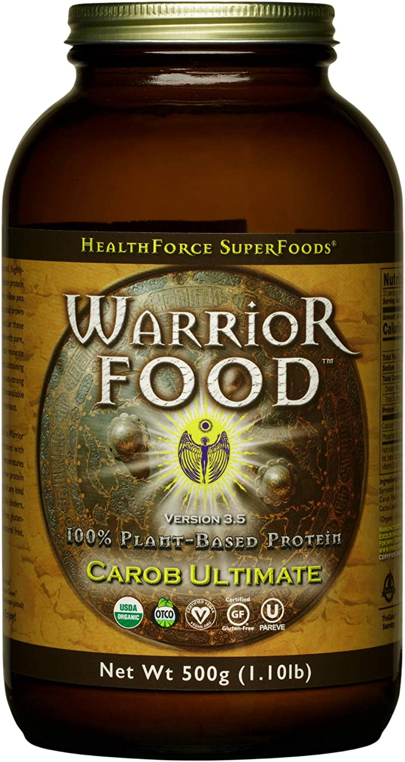 HealthForce SuperFoods Warrior Food, Carob Ultimate - 500 Grams - Plant-Based Protein Powder with Minerals & Pea Protein - Certified Organic, Vegan, Non-GMO, Soy, Gluten & Sugar Free - 25 Servings