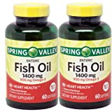 Spring Valley - Fish Oil 1400 mg, Triple Strength, Natural Enteric, 120 Softgels, Twin-Pack 2-60