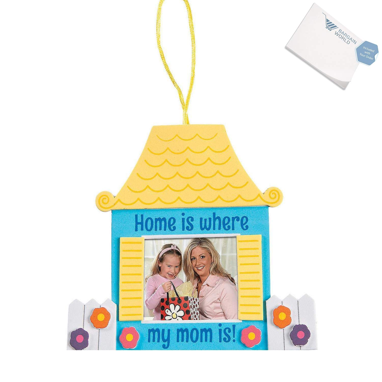 Bargain World Home Is Where My Mom Is Picture Frame Craft Kit (With Sticky Notes) by Bargain World (Image #1)