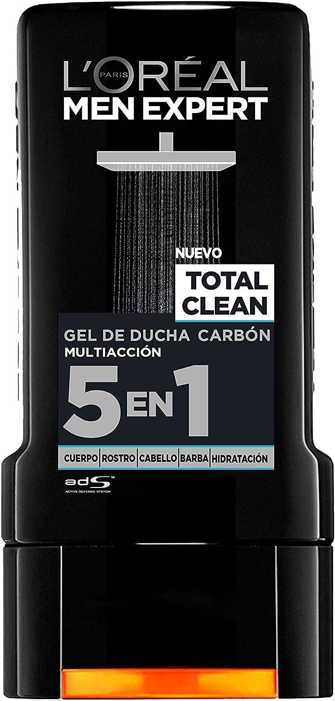 LOréal Paris - Men Expert, Gel de Ducha Carbón Multiacción 5 en 1 Total Clean - Pack de 6 x 300 ml: Amazon.es: Belleza