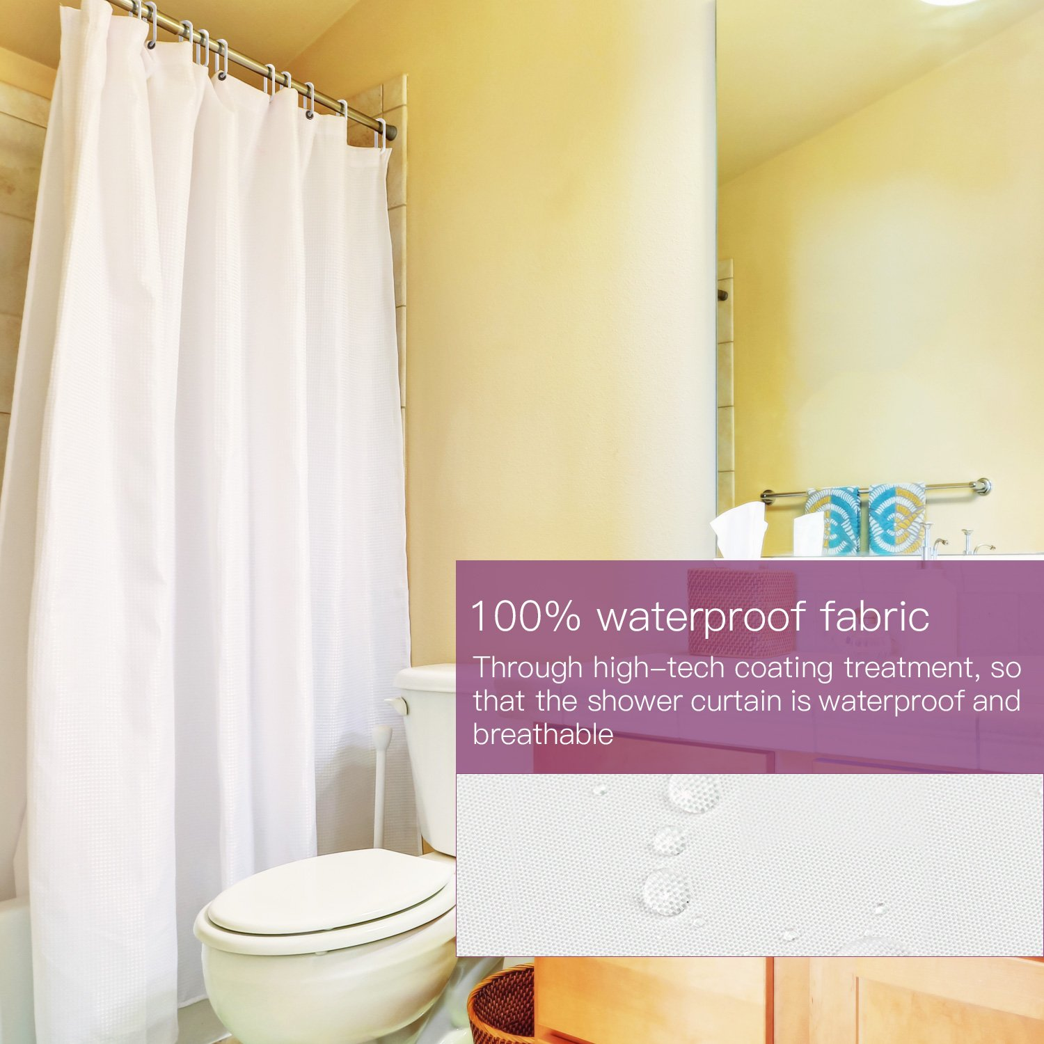 home com cm ansio bathroom water inches for white mold resistant fabric bacterial curtains zjmll amazon x solid polyester curtain dp anti shower mildew