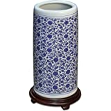 China Furniture Online Porcelain Umbrella Stand, 19 Inches Tall Hand Painted Floral Motif in Blue and White