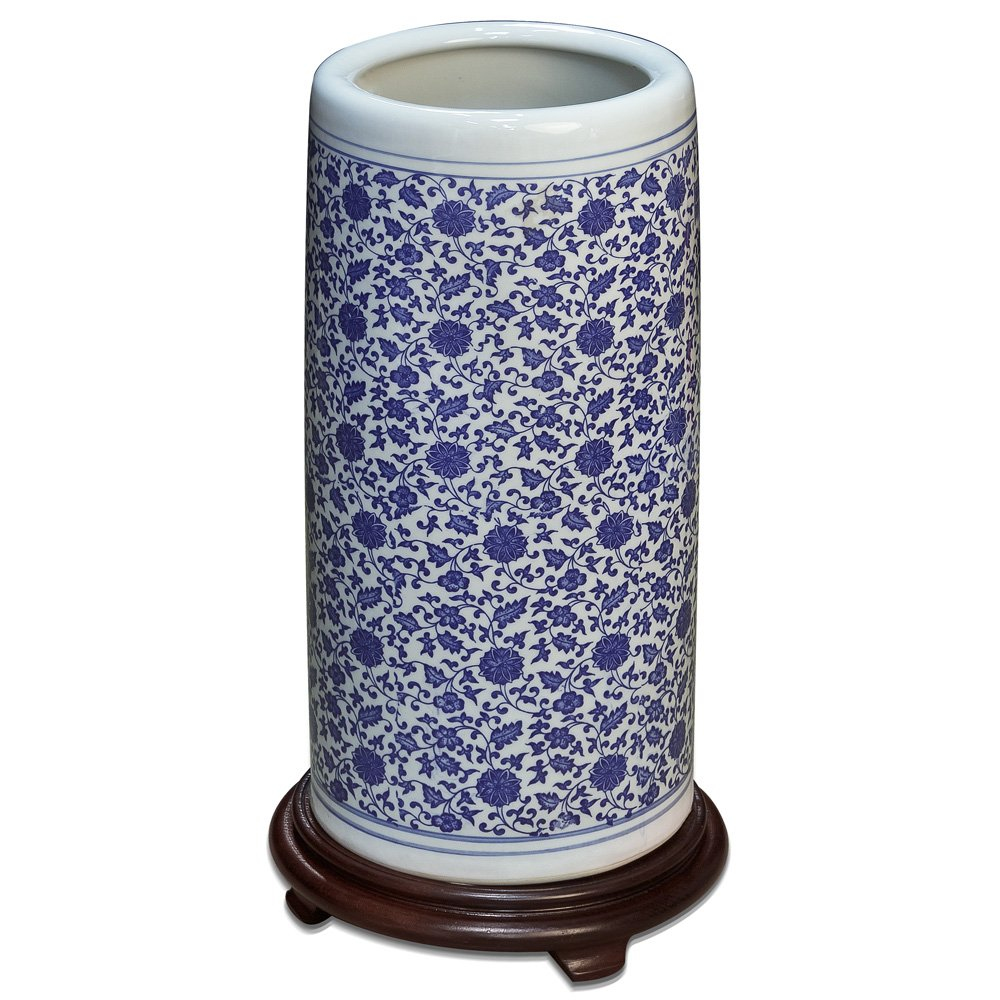 China Furniture Online Porcelain Umbrella Stand, 19 Inches Tall Hand Painted Floral Motif in Blue and White by ChinaFurnitureOnline