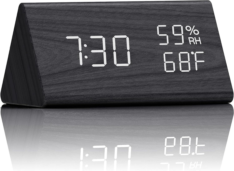 Digital Alarm Clock Electronic LED Time Display 3 Alarm Settings Adjustable Brightness Humidity & Temperature Detect Wood Design for Bedroom, Bedside, Desk, Office, Kids and Families, Black