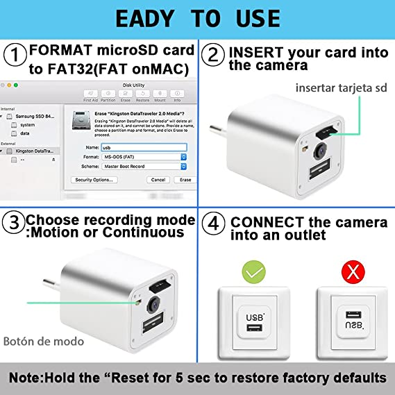 Mini Cámara 1080P Portátil Kleine Cámara Vigilancia USB Cámara Detector de Movimiento No Incluidas Tarjeta SD