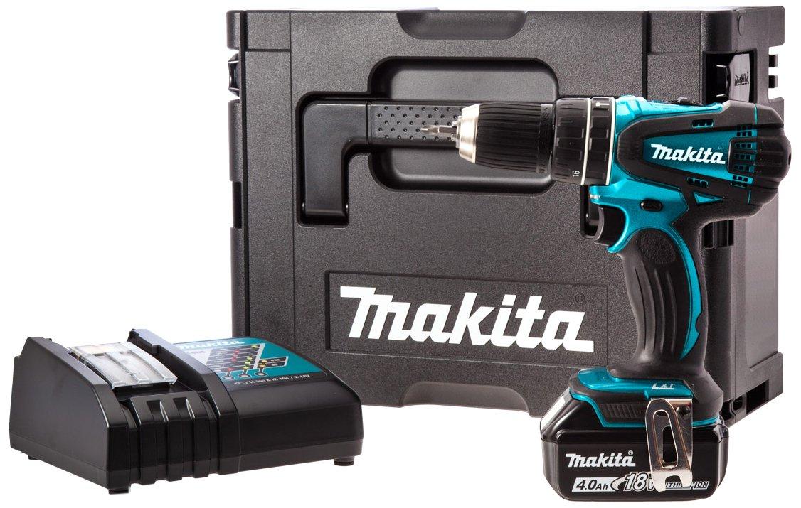 makita hammer drill case. makita dhp456sp1r cordless 18 v li-ion combi drill with makpac carry case and 1 x 4 ah battery: amazon.co.uk: diy \u0026 tools hammer