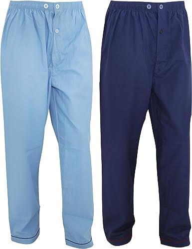 Pantalones de pijama largos para hombre caballero (Paquete de 2 unidades) (Mediana (M)/Azul marino/Azul) : Amazon.es: Ropa y accesorios