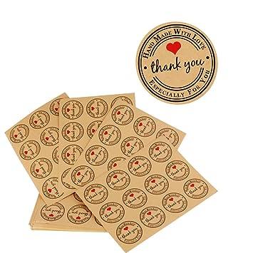 300pcs (3.8 * 3.8cm) Etiqueta Adhesiva Pegatina Kraft Sello Scrapbooking Gracias con Thank You Corazón para Bolsa Papel Jabón Regalo Recuerdo para ...