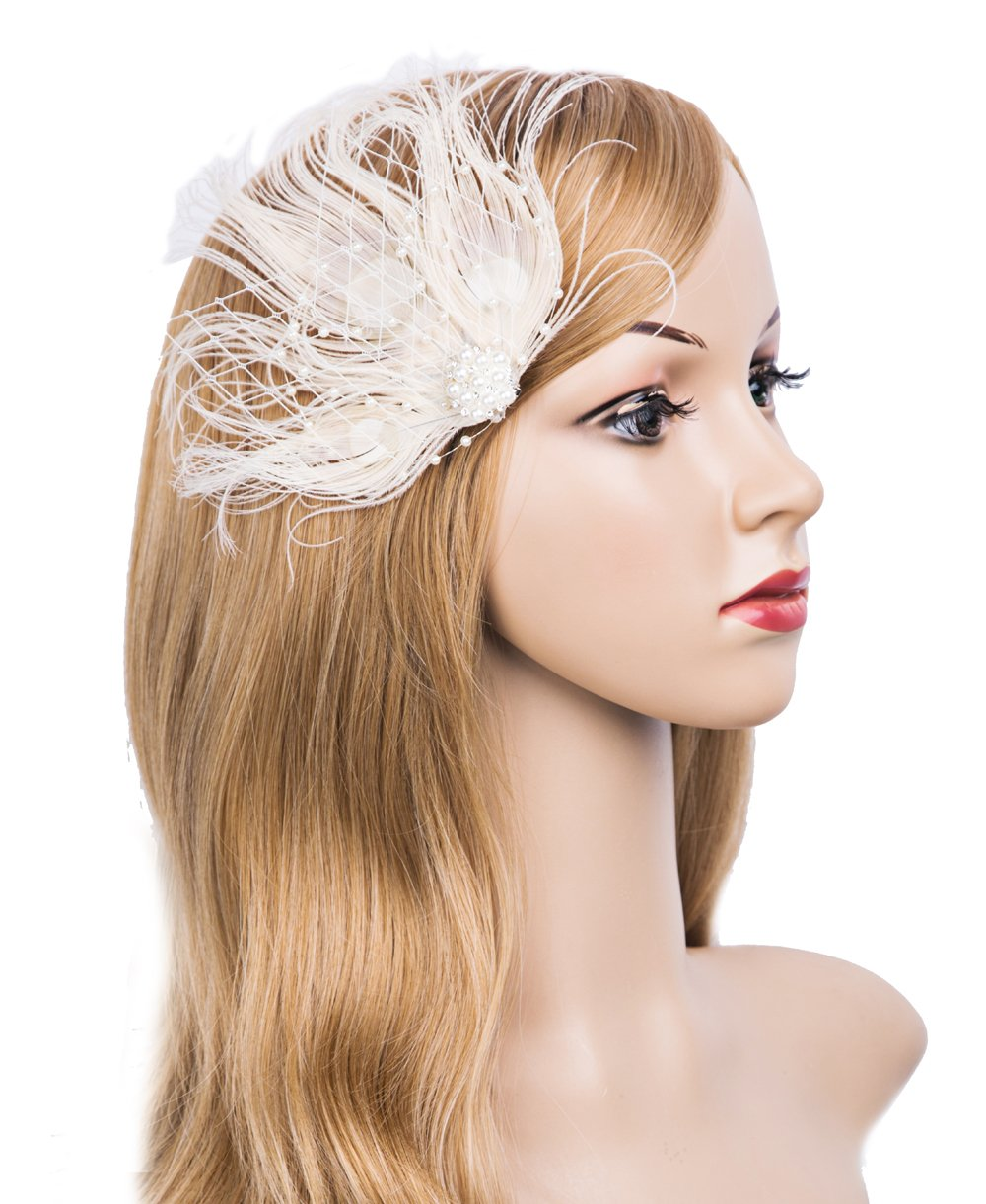 Cizoe 1920s Gatsby Acessories Peacock Costume Hair Clip With Feather Pearl 1920 Flapper Headpiece (White) by Cizoe