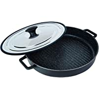 "MasterPan Non-Stick Stovetop Oven Grill Pan with Heat-in Steam-Out Lid, nonstick cookware, 12"", Black, MP-107"