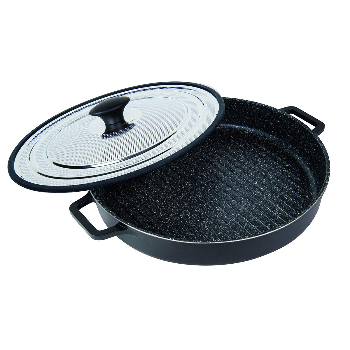 MasterPan Non-Stick Stovetop Oven Grill Pan with Heat-in Steam-Out Lid, nonstick cookware, 12'', Black, MP-107