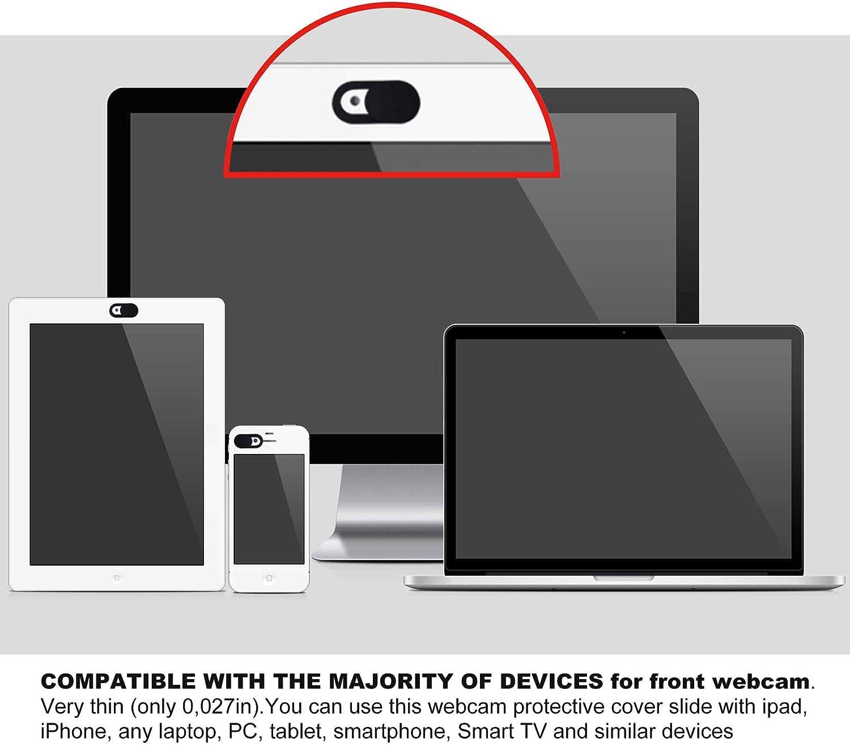 Smartphone Slide Webcam Cover Ultra Slim 0.027inch Web Camera Cover Compatible with Computer iMac Dell HP Lenovo Laptop MacBook Pro 3 Pack Slider Camera Blocker Protect Privacy Securtiy-Black
