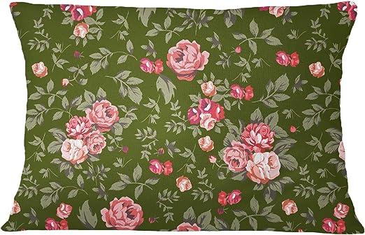 1 Pair Mint Green Cotton Poplin Rose Floral Print Pillow Sofa Cushion Cover