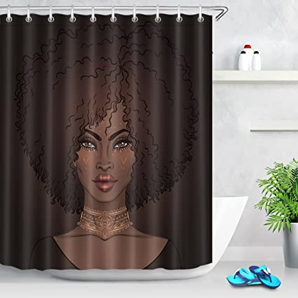 LB Black Afro Girl Shower Curtain For Stall By African American Art Fabric