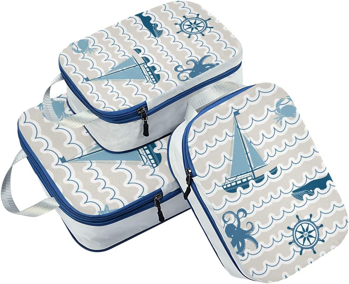 LUPINZ Wave Pattern With Nautical Symbols Travel Luggage Packing Organizers 3 Pieces Travel Cubes