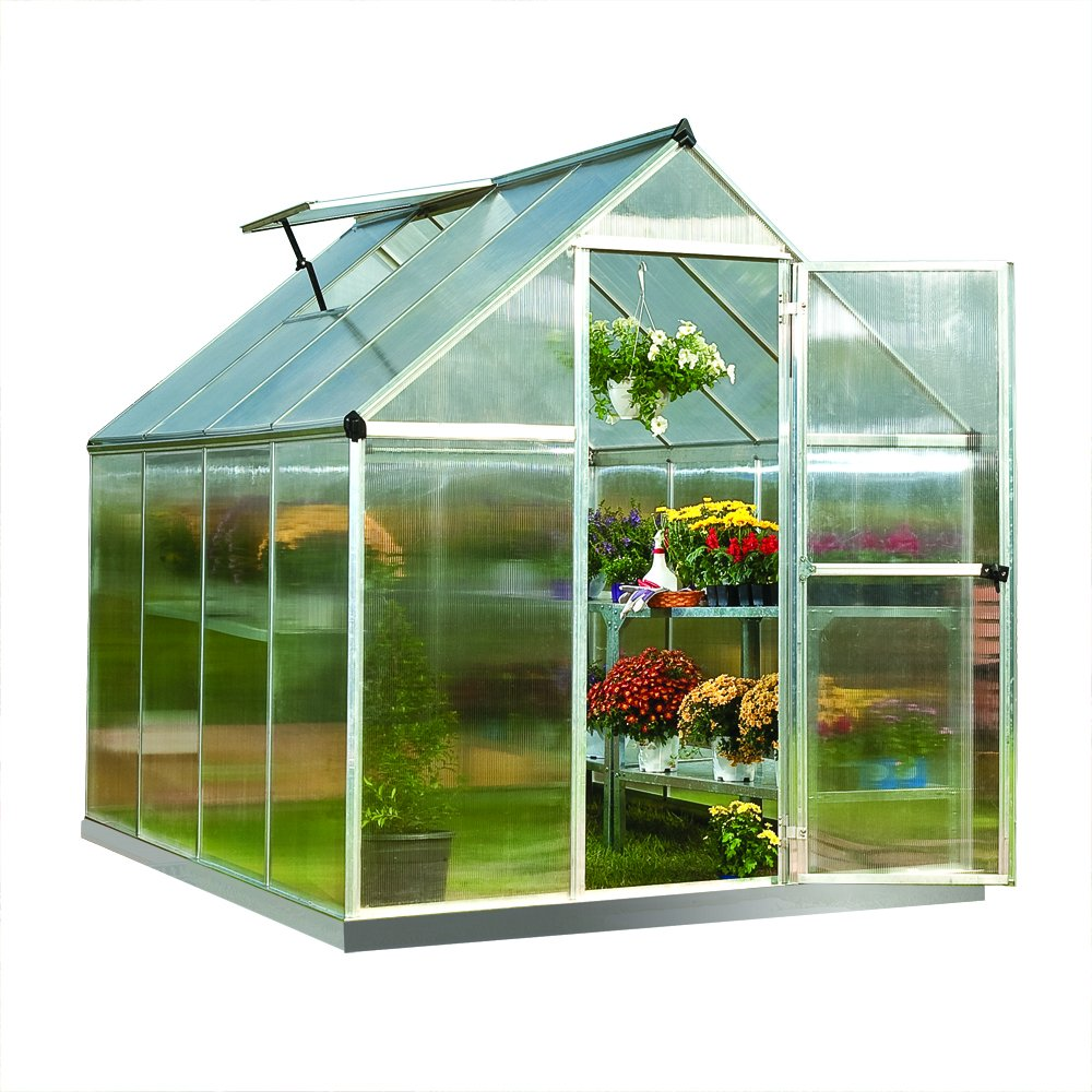 Palram Nature Series Mythos Hobby Greenhouse - 6' x 8' x 7'- Silver by Palram