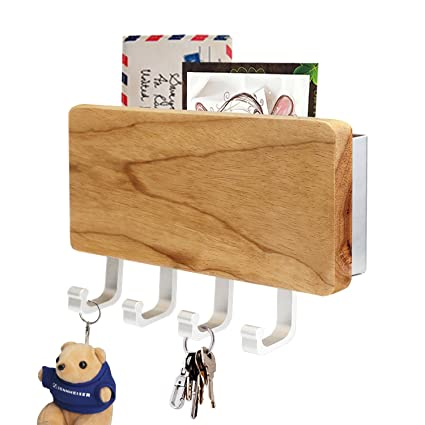Key Holder, Segarty Decorative Wooden Key Chain Rack Hanger Wall Mounted  With 4 Hooks,