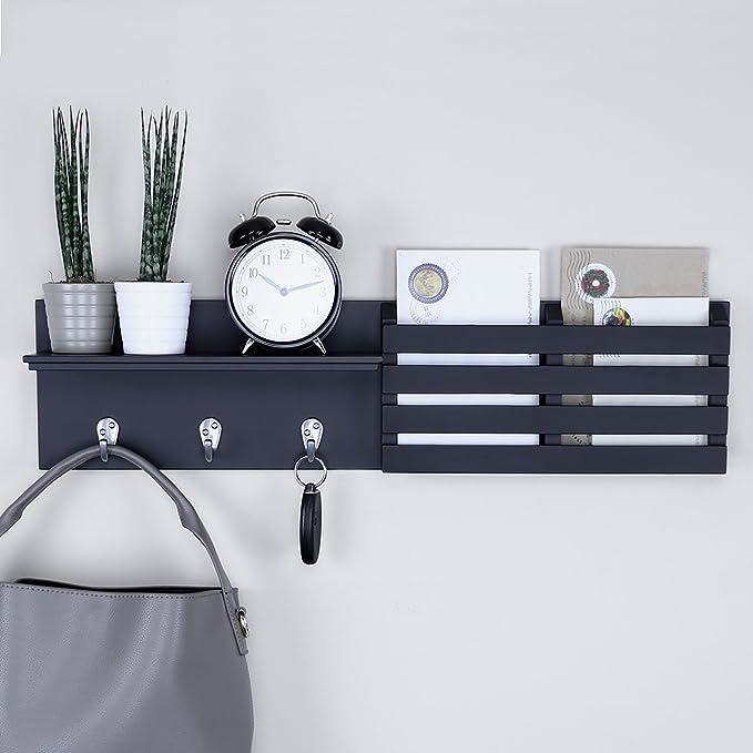 Ballucci Mail Holder And Coat Key Rack Wall Shelf With 3 Hooks 24 X 6 Black Home Kitchen Amazon Com