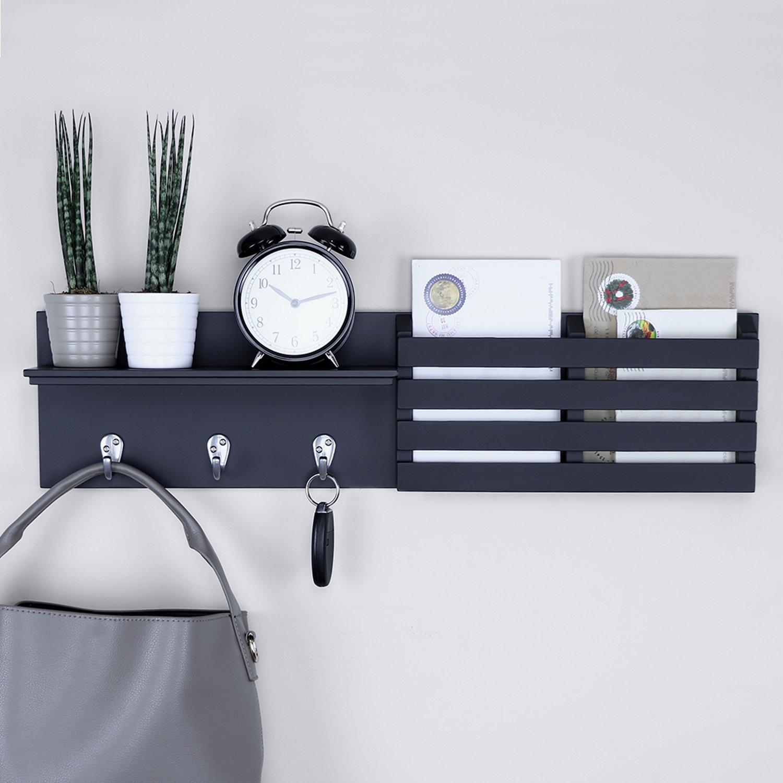 Ballucci Mail Holder and Coat Key Rack Wall Shelf with 3 Hooks, 24'' x 6'', Black