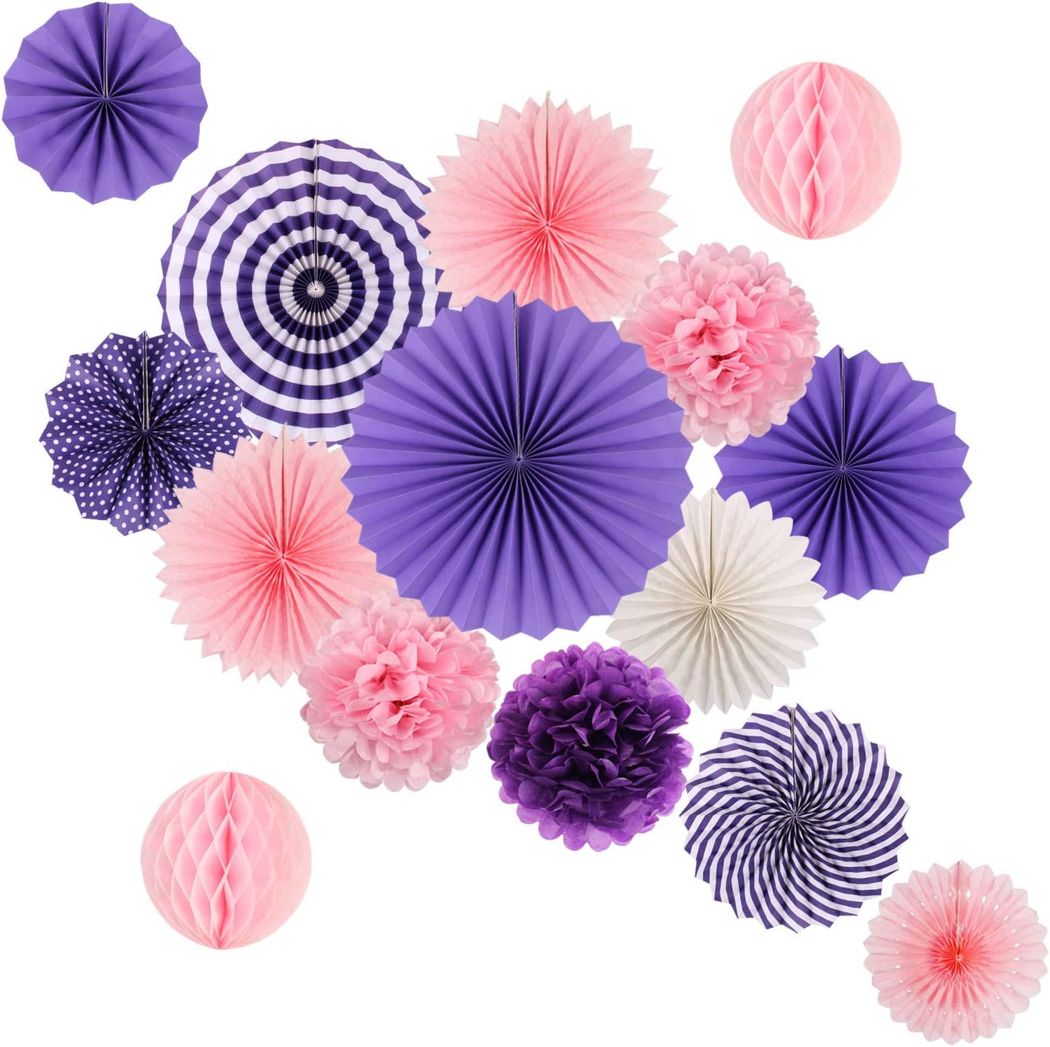 Hanging Party Decorations Set Tissue Paper Fan Paper Pom Poms Flowers and Honeycomb Ball for Wedding Birthday Bridal Showers Engagement Party Decor Pink Purple Kit