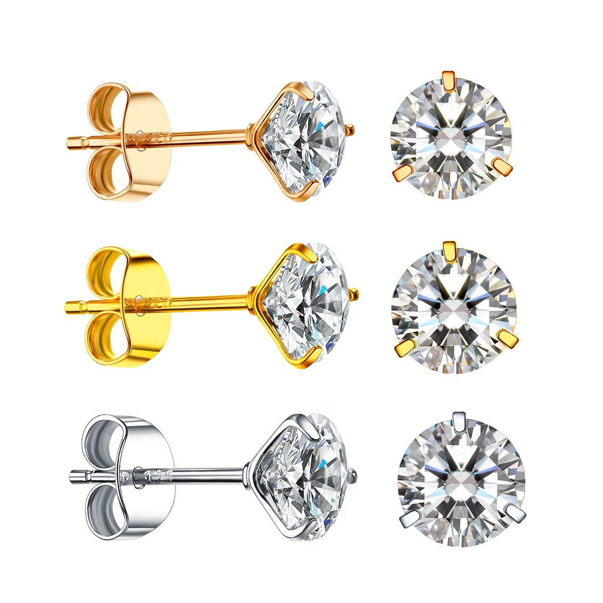 Women's 18K Gold Plated CZ Stud Earrings Man Made Diamond Round Crystal Cubic Zirconia Sterling Silver Ear Stud Set (Rose gold/Yellow gold/Sliver 3colors Pairs)