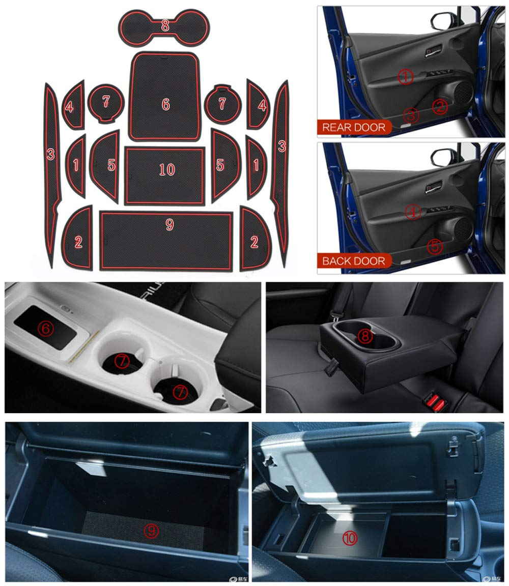 Door and Center Console Liner Interior Accessories Latex Anti-dust Non-Slip Mats Smabee Custom Fit Automotive Cup Holders for Toyota Prius Hybrid 2016 2017 2018 2019 Red