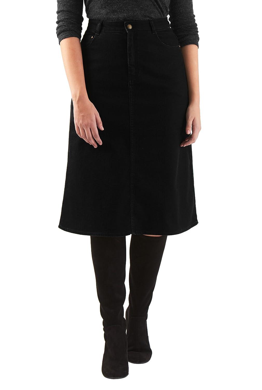 eShakti Women's Black denim straight skirt