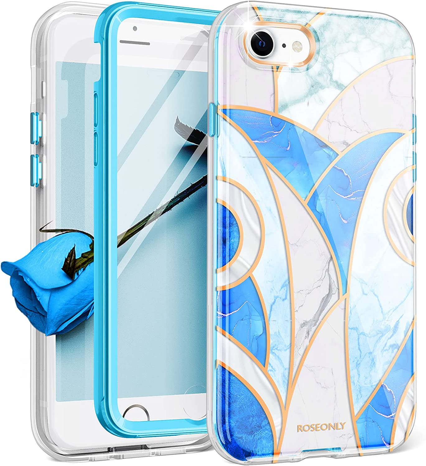 ROSEONLY [2021 Release] iPhone SE 2020 Case/iPhone 7 Case/iPhone 8 Case 4.7 Inch, Slim Stylish Protective Marble Cover with Built-in Tempered Glass Screen Protector - Blue