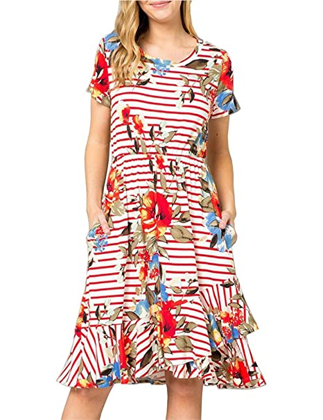 da8994699528 Ruici Women s Summer Striped Floral Short Sleeve Casual Flared Midi Dress  with Pockets Dark Coral S at Amazon Women s Clothing store