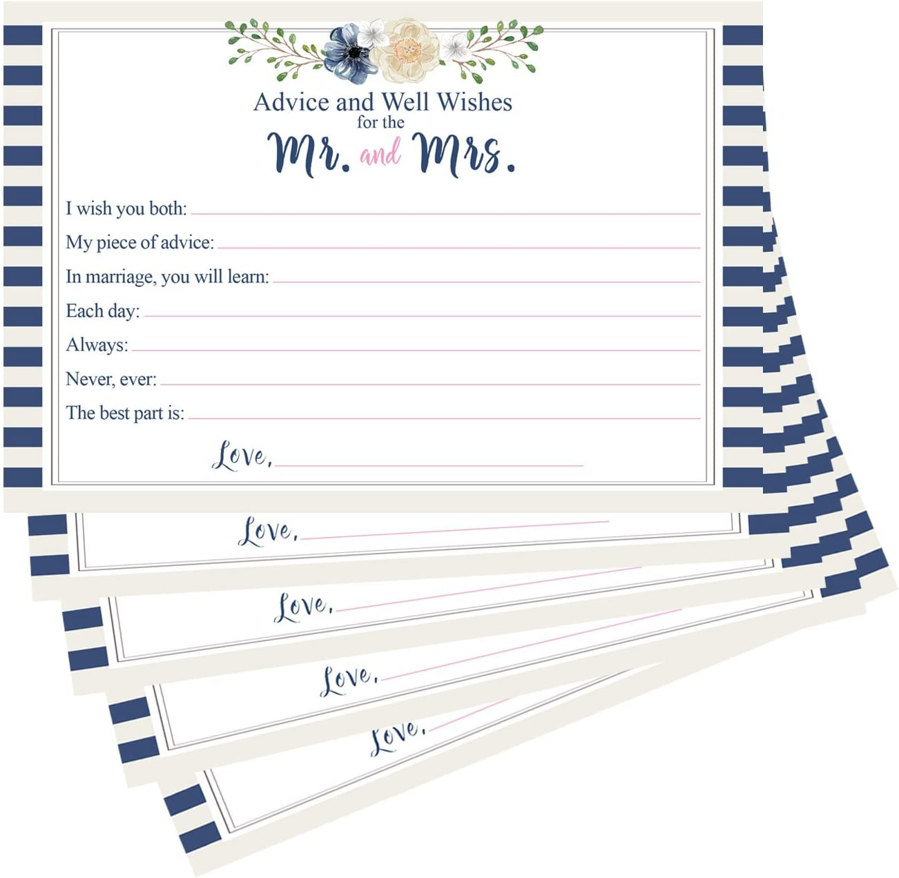 10 X FULLY PERSONALISED Wedding Bride /& Groom Quiz Cards Fun for your Guests