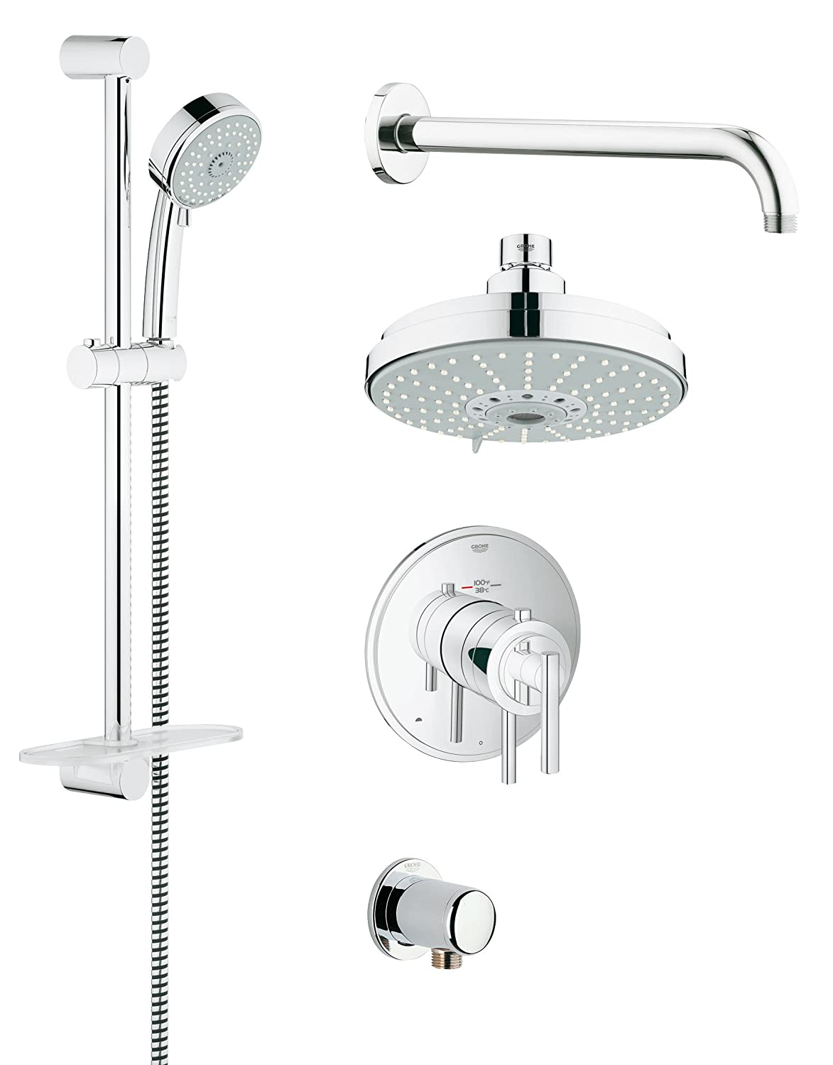 qs chrome lg rail grohe relexa shower taps bathroom htm furniture