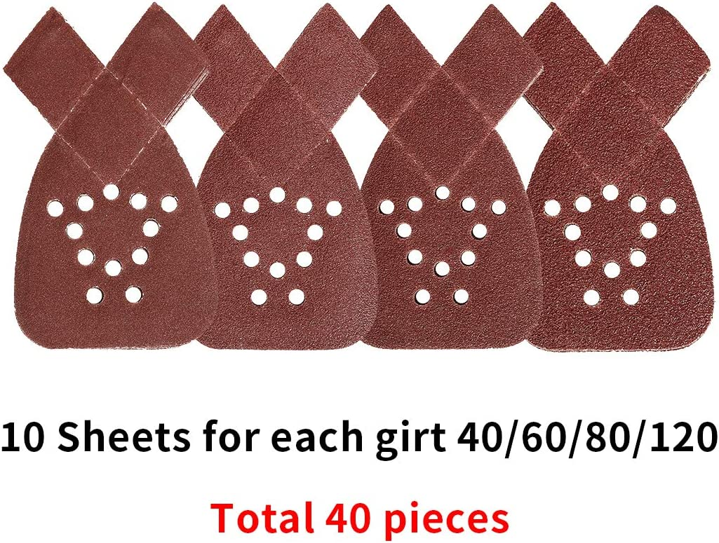 crochets et boucles Lot de 40 feuilles de papier abrasif avec 2 embouts suppl/émentaires pour le remplacement grains 40//60//80//120 pour sadapter /à la ponceuse /à souris Black et Decker