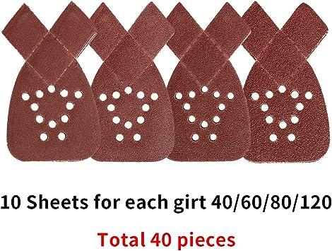 40 hojas de lija de rat/ón para lijadora Black and Decker de todos los grados 40 grano mixto 40 60 80 120 granos