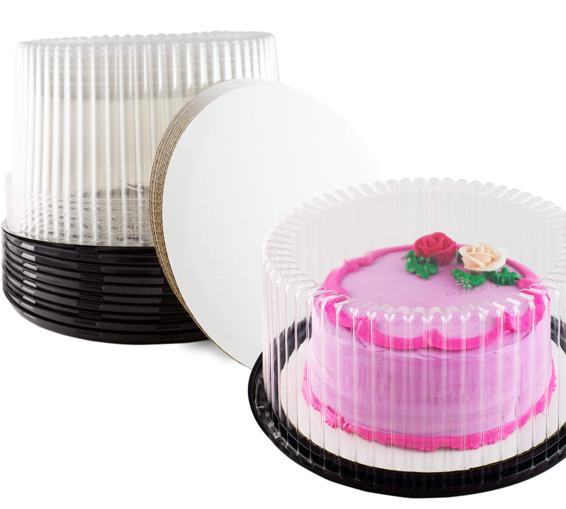 Plastic Cake Container & Board Set By Chefible: Extra-Strong Transparent Round 10'' Bakery Display/Storage Boxes With Base, Tall Dome Lid & Honeycomb Design + Sturdy 10'' Corrugated White Circles