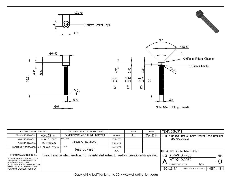 Ti-6Al-4V Allied Titanium 0090311, Inc Grade 5 609237001 M5-0.8 Pitch X 35mm Socket Head Titanium Machine Screw Pack of 8