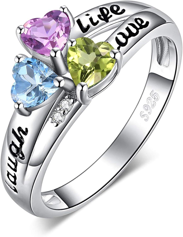 JewelryPalace Anillo Life Amor Laugh 3 Piedra 0.2ct Corte en el Corazón Genuino Peridot Amatista Cielo Azul Topacio Personalizada Piedra natal Promesa Dividir vástago Plata de Ley 925