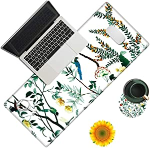 Desk Pad, Flowers & Birds Laptop Desk Mat,Long Large Gaming Mouse Pad with Stitched Edges Non-Slip Writing Mat Desk Blotter Protector for Office Home (with Coaster & Sunflower Sticker)