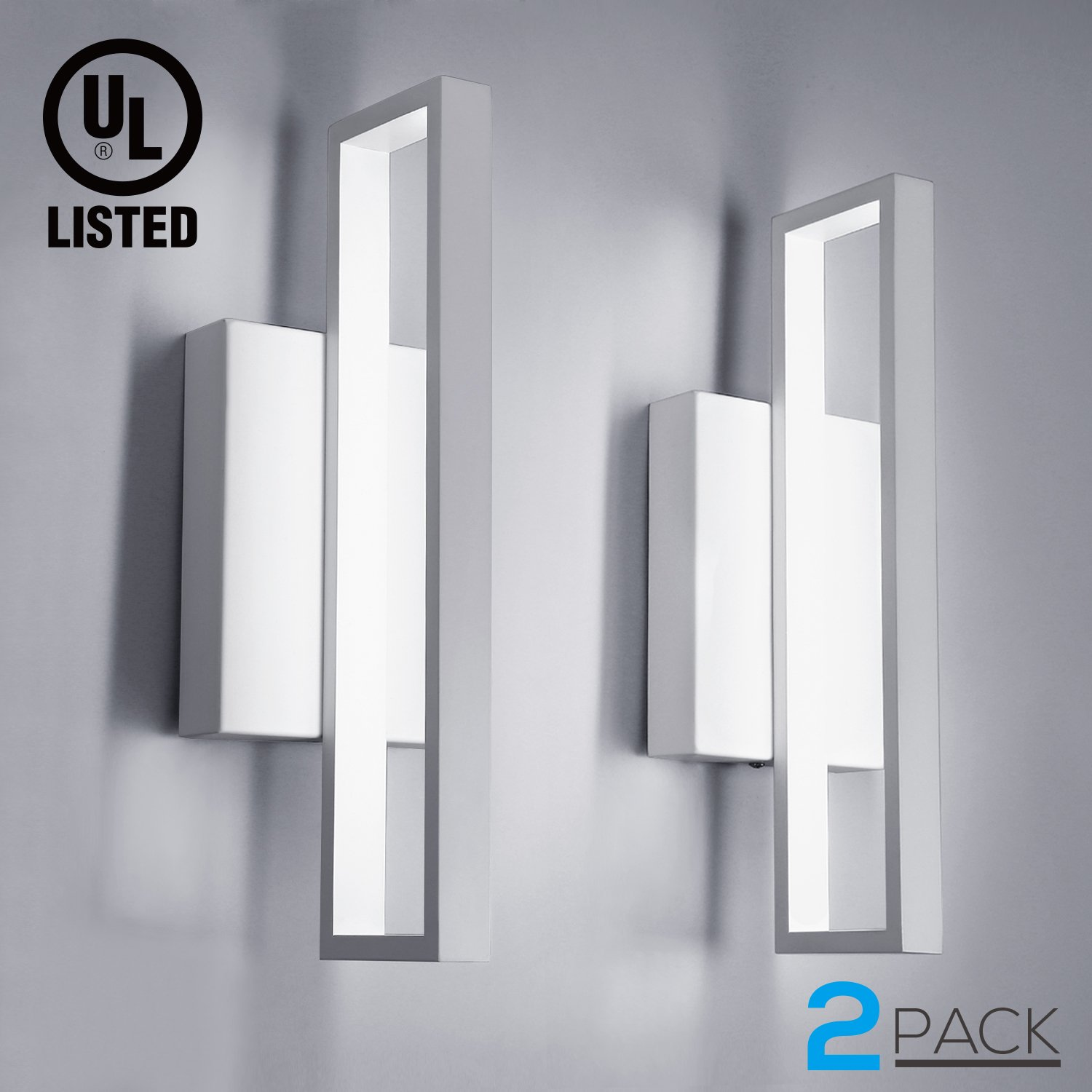 2 Pack 12W LED Square Wall Sconce Lights, 75W Equiv, 660lm Surface Mounted LED Wall Lamp, Room Decor for Office, Living Room, Bedroom, Hallway, Corridor