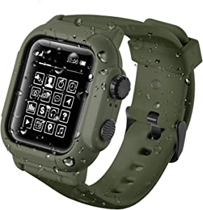 Apple Watch Waterproof Case IP68, Anti-Scratch,Shockproof Impact Resistant Case+Soft Silicone Apple Watch Band -for Apple Watch 5 4 Series 42mm 44mm [2020 New] (ArmyGreen, 42mm)
