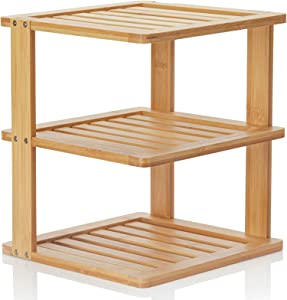 Bamboo Corner Shelf - 3 Tier 10 x 10 inch and 11.5 inches high. Kitchen Cabinet Organizer - Pantry Organization and Storage - Bathroom Countertop Shelves