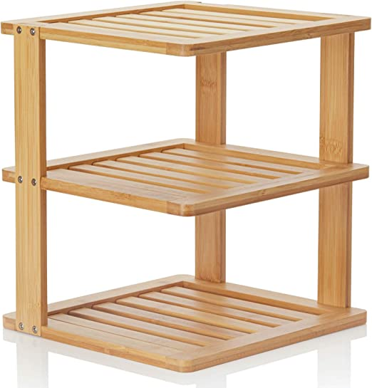 Amazon Com Bamboo Corner Shelf 3 Tier 10 X 10 Inch And 11 5 Inches High Kitchen Cabinet Organizer Pantry Organization And Storage Bathroom Countertop Shelves Kitchen Dining