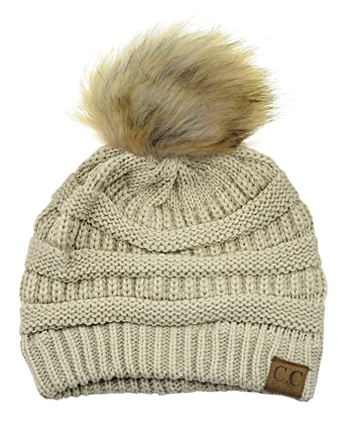 NYFASHION101 Exclusive Soft Stretch Cable Knit Faux Fur Pom Pom Beanie Hat  - Beige 26726e50cd1