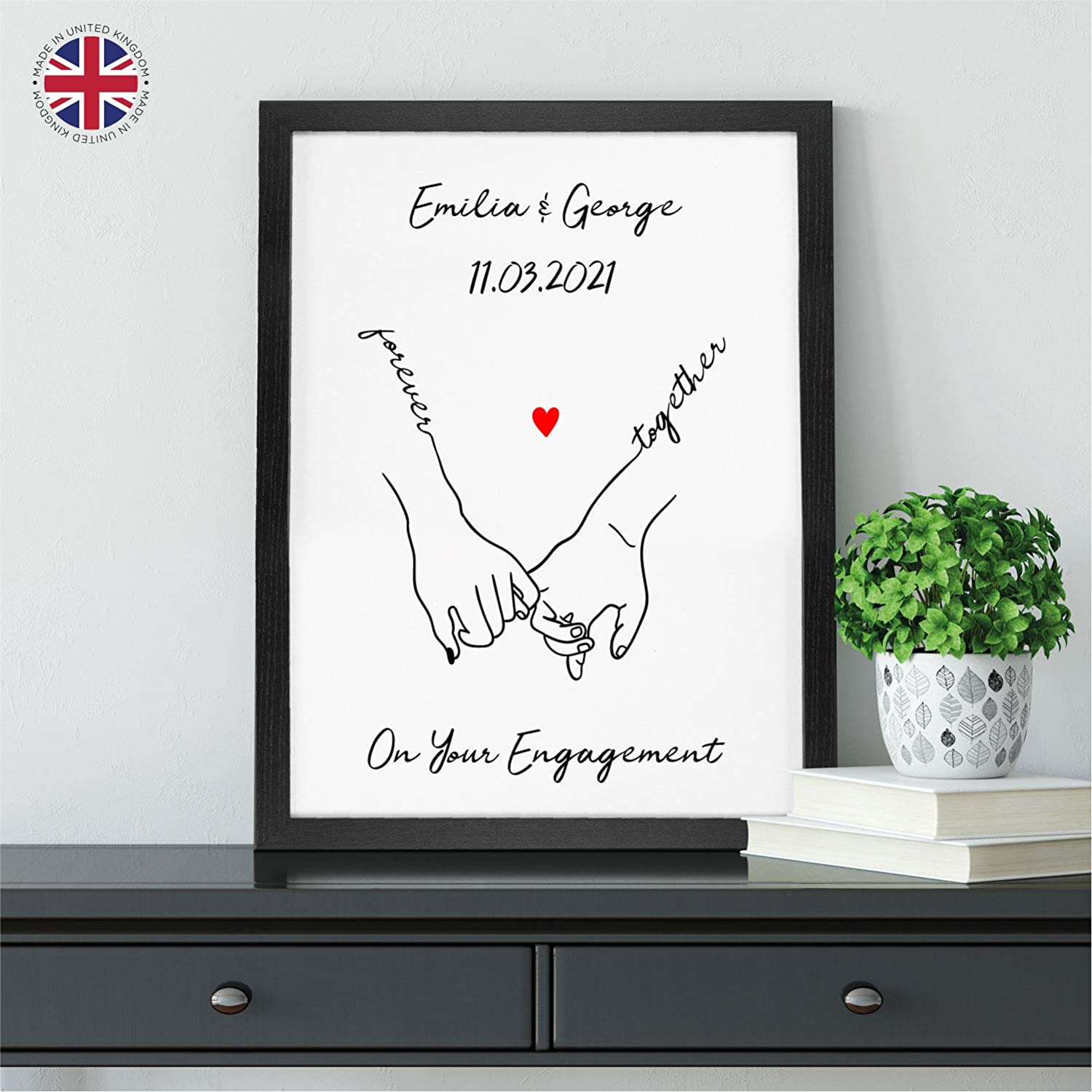 A3 Gift Idea for Engagement A4 and A5 Wooden Frames Available Simple and Contemporary Holding Hands Couples Engagement Print PERSONALISED Beautiful