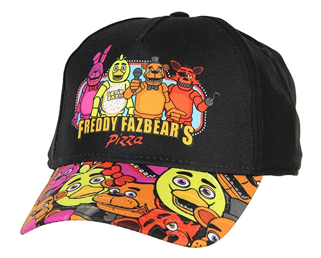 low priced 4cd35 d4ab5 Fazbear  s Pizza Character Graphic on Front Allover Character Print Graphic  On Brim Adjustable Youth Sized - One Size Fits Most Snapback Hat