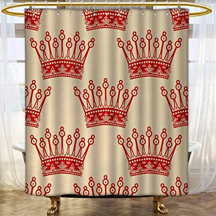 Anhounine Queen Shower Curtains Fabric Extra Long Crowns Pattern In Red Vintage Design Coronation Imperial Kingdom