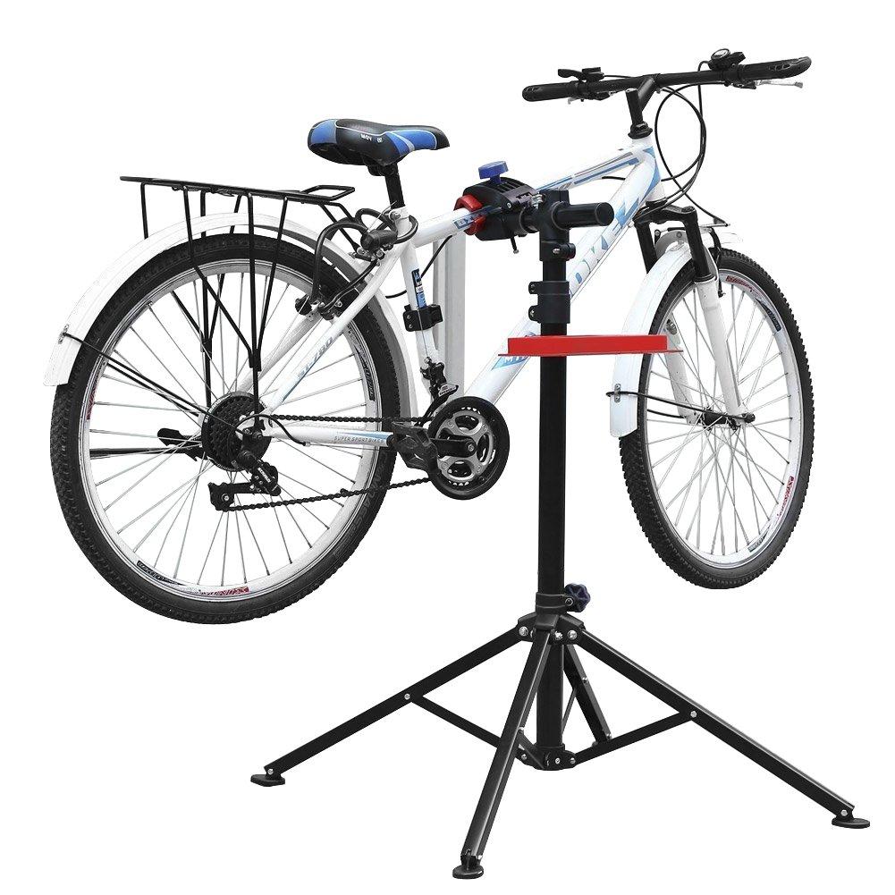 amzdeal Fahrradmontagestä nder Reparaturstä nder mit Werkzeugablage - klappbar & hö henverstellbaron 115-170cm - schwarzer Montagestä nder vierbeinig Fahrradmontagestä nder falter Montagestä nder bis 50kg