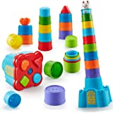 Bu-buildup Baby Stacking Cups, Nesting Cups, Sorting Cups, 15 pcs for Bath, Beach, Outdoor, Indoor, Early Educational Toy, Gi