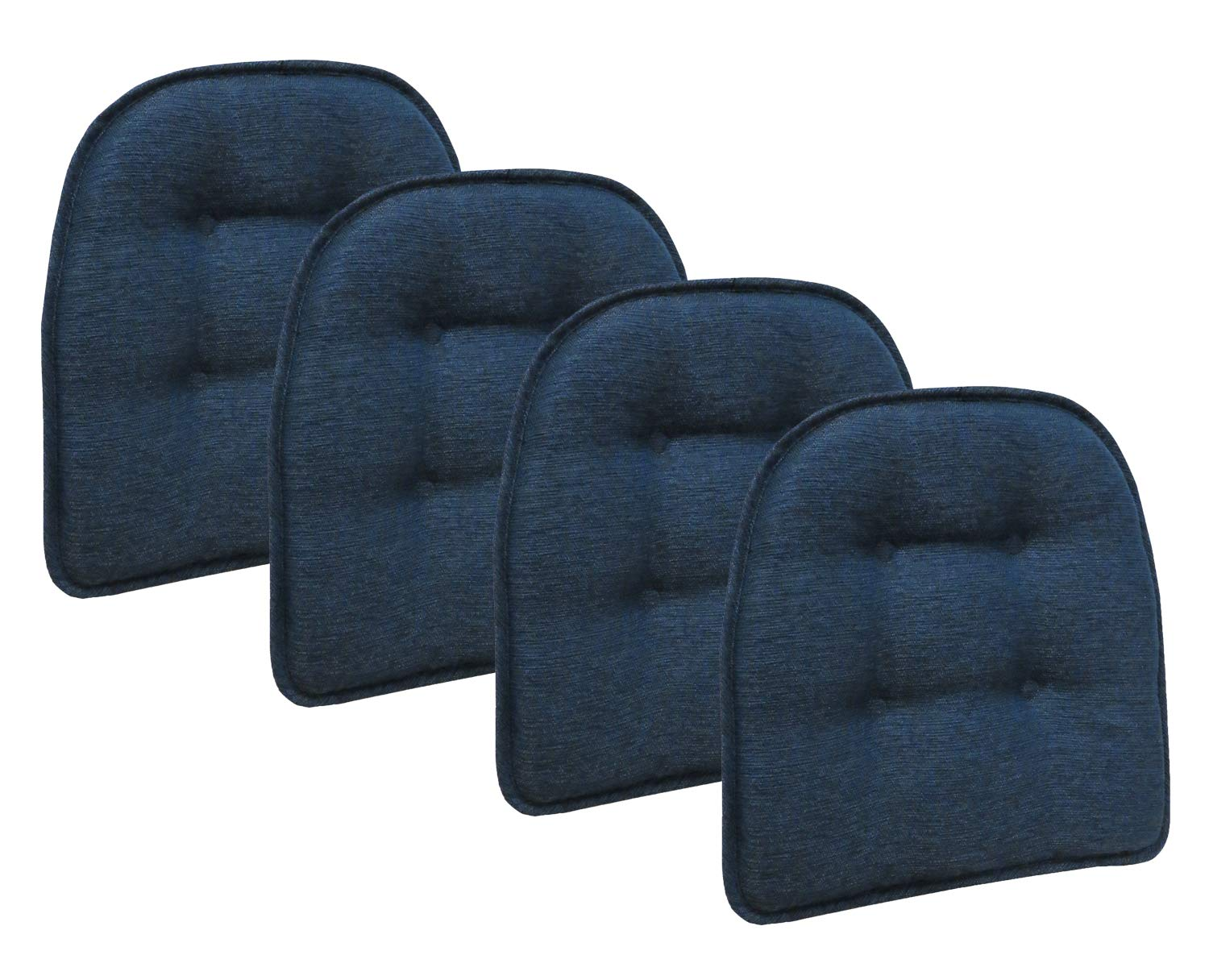 Klear Vu Omega Gripper Tufted Furniture Safe Non-Slip Dining Chair Cushion, 4 Pack, Indigo